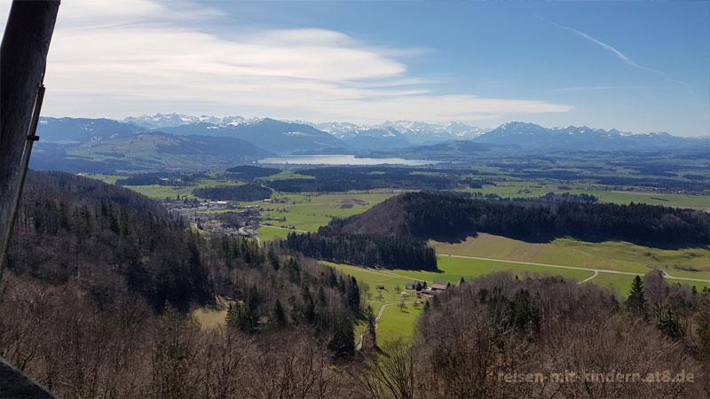 Tagesausflüge mit kleinen Kindern – Hochwachtturm, Blick in Richtung Zug
