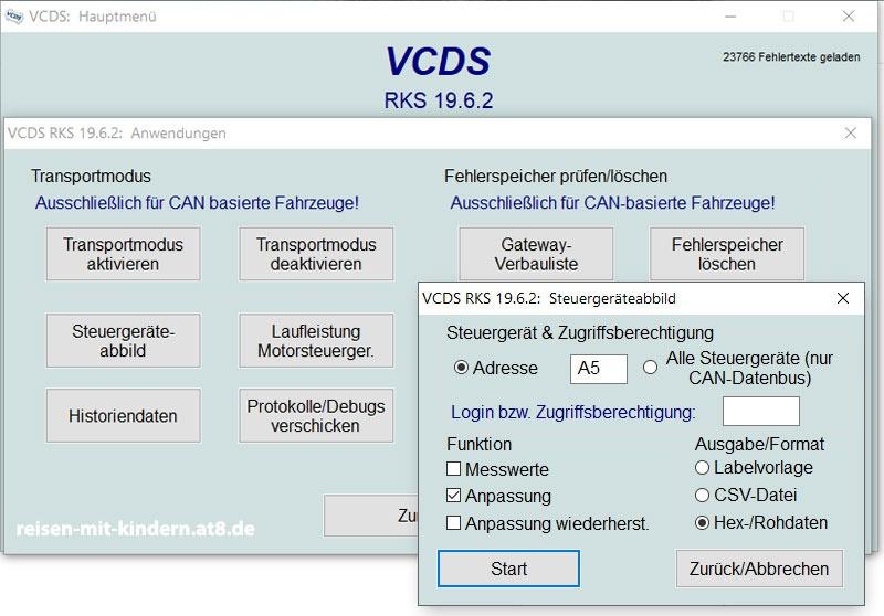VCDS Steuergeräteabbild erstellen, welches wieder zurückgespielt werden kann